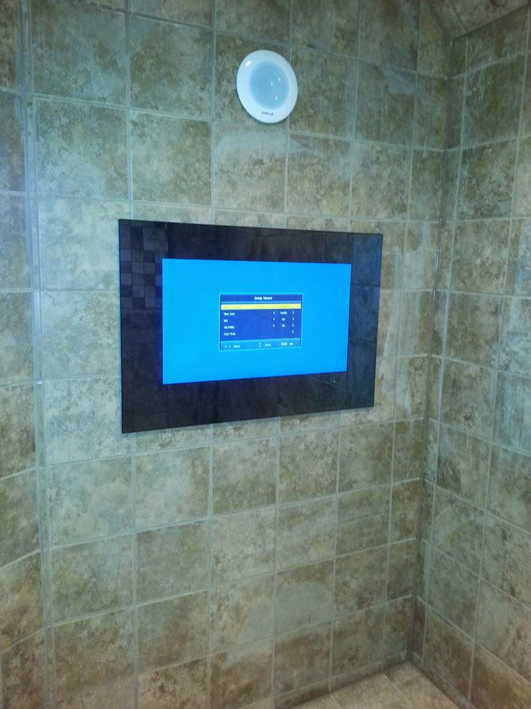 tv in shower remodel